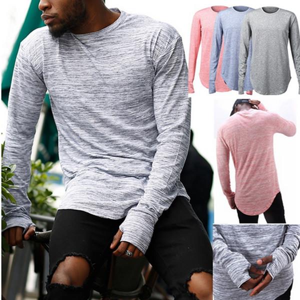 Мода уличная футболки для мужчин продлить хип-хоп прохладный топы 2017 новый бренд белье с длинным рукавом негабаритных дизайнерская одежда ZL3418