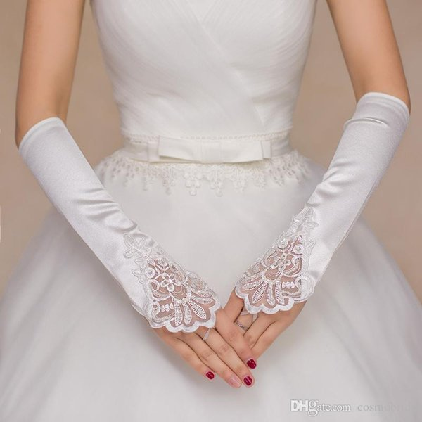 2017 white fingerless elbow gloves lace satin gloves vintage wedding acessories ladies dress gloves bridal glove