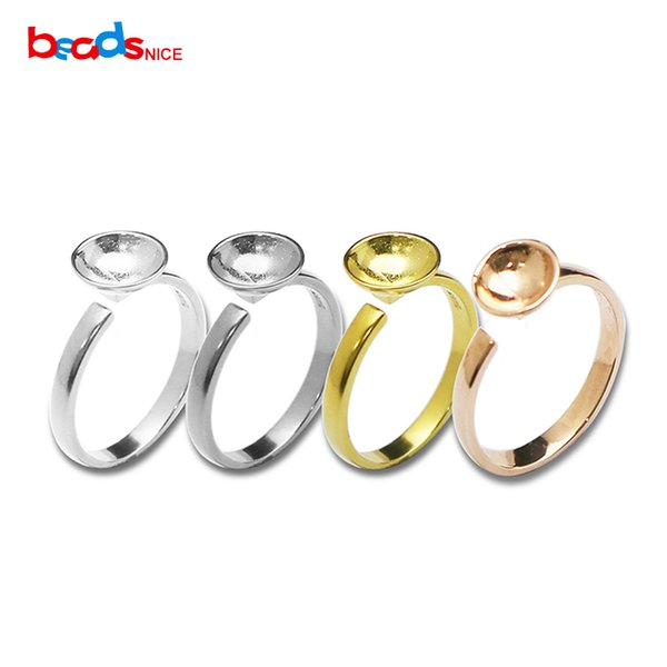 925 silver ring blanks base initial finger rings manual polishing 10mm pad wholesale jewelry findings handmade gifts DIY fit 10mm round