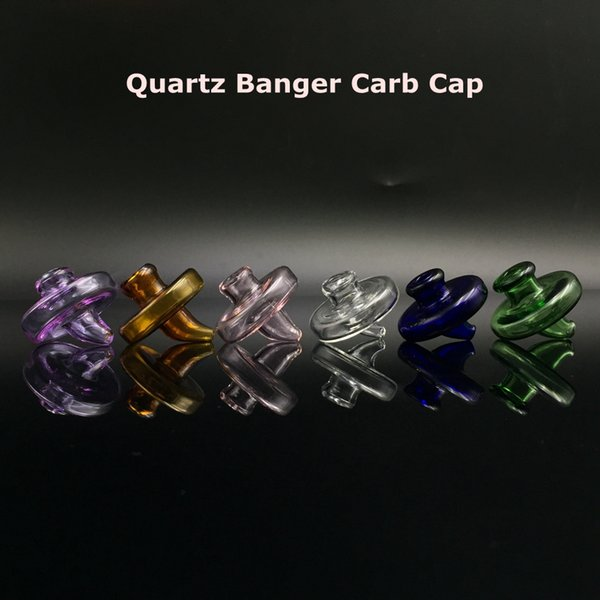 35mm OD Universal Colored glass UFO carb cap dome for Quartz banger Nails glass water pipes, dab oil rigs glass bong free shipping