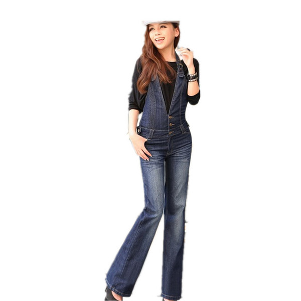 Wholesale- Free Shipping 2016 Plus Size Denim Bib Pants Halter-neck Jumpsuit And Rompers For Women Suspenders Jeans ol Straight Trousers