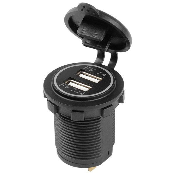 Wholesale- 5V 1A 2.1A Dual USB Car Charger Universal Truck ATV Boat For iPhone iPad Samsung Mobile Phone Power Adapter Socket Outlet