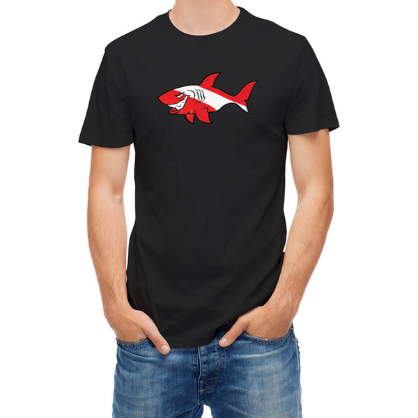 T-shirt Cartoon Scuba Flag Shark Grande sconto in cotone uomini Tee Fashion Men T Shirt Top Tee libero di trasporto
