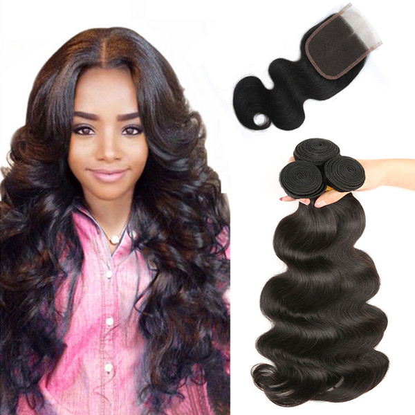 Hot Selling Brazilian Body Wave virgin human hair weave with closure natural color 4x4 lace closure with three bundles hair extensions