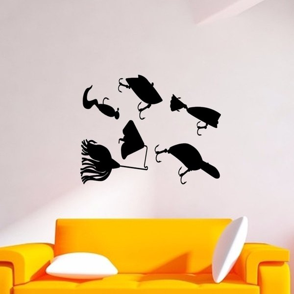 Fishing Lures Fish Salt Fresh Water Rod Graphic Wall Sticker Decal Stickers Bedroom Living Room Decorative Murals Vinyl Art DIY