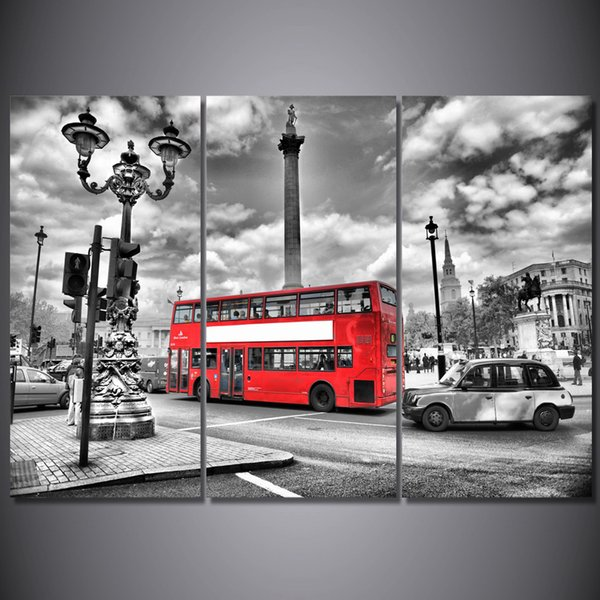 3 Pcs/Set Framed HD Printed London Red Bus Street Picture Wall Art Canvas Print Decor Poster Canvas Modern Oil Painting