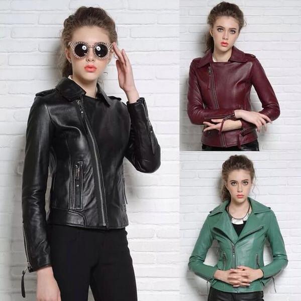 Negro rojo verde de la moda de la motocicleta chaqueta de cuero genuino de la calle de las mujeres piel de oveja delgada abrigos de las mujeres cremallera oblicua inglaterra S - 2XL