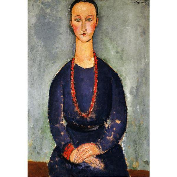 Abstrakte Frau Kunst Frau in einem roten Halskette-Amedeo Modigliani Porträt Ölgemälde Leinwand handbemalt