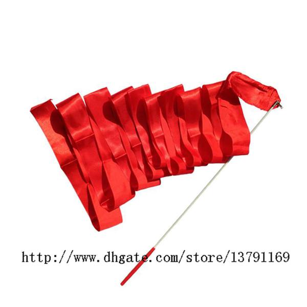 Gymnastic Ribbon Wand Dance Ballet Ribbon Stick Rhythmic Gymnastics Art Fitness Ballet Streamer Twirling Rod Red