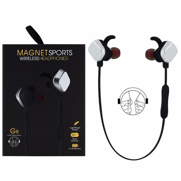 2017 Nuovo di alta qualità MINGGE G8 Wireless Bluetooth 4.1 Magnete Sport Cuffie Funzione di connessione multipla con cavo USB per telefoni cellulari
