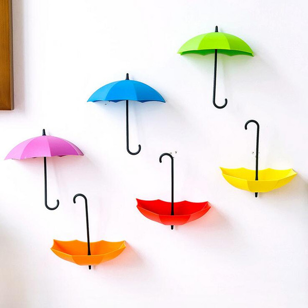 3pcs/lot Cute Umbrella Shaped Plastic Creative Key Hanger Rack Decorative Sticky Holders Door Wall Hooks For Kitchen Organizer