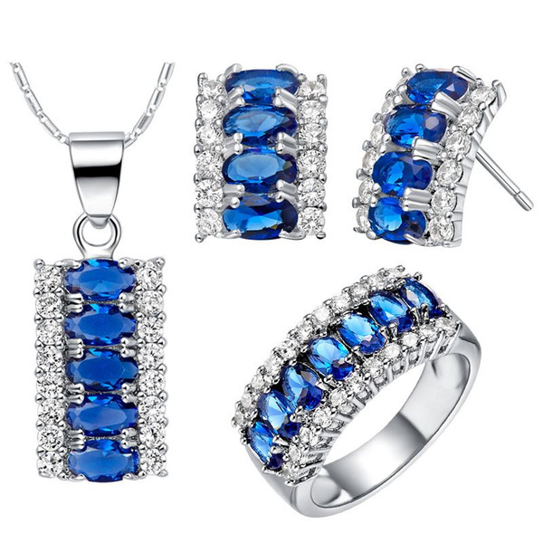 925 Sterling Silver pendant Earrings ring Women Gift word Jewelry sets NEW suits custom-made suit high-end European and American pop long I