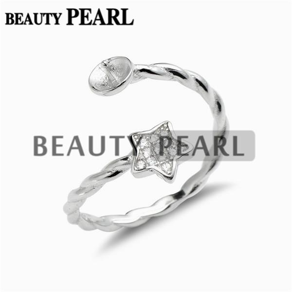 2 Pieces Star Ring Twisted Band Cubic Zirconia 925 Sterling Silver Pearl Mounts for DIY Jewellery Make