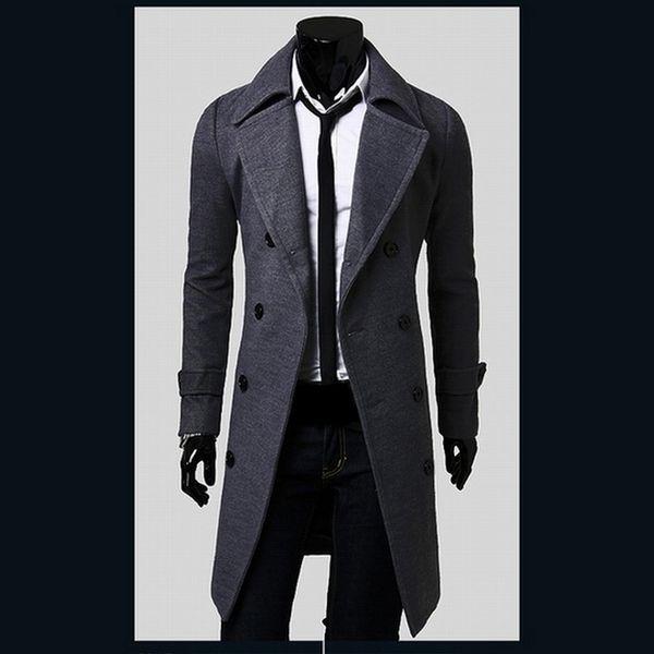 Al por mayor-venta caliente para hombre diseñador de ropa de estilo británico gabardina invierno otoño chaqueta de lana chaqueta cortavientos hombres abrigo Casacos 2M0135