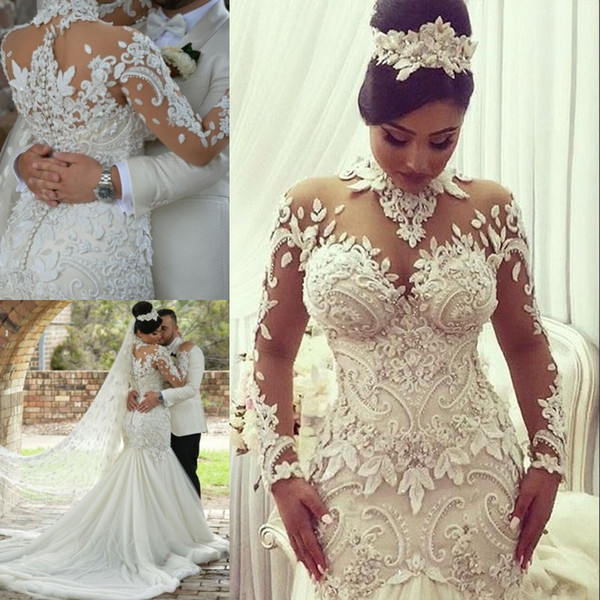 top popular Dubai High-Neck Mermaid Wedding Dresses Bridal Gowns Sheer Long Sleeves Beaded Lace Applique Wedding Gown Sexy Tulle Long Bridal Dress 2019