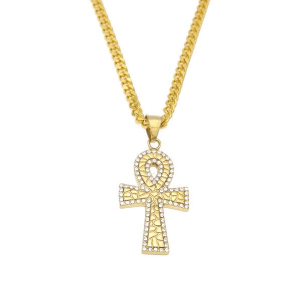 Nouveau Style égyptien clé Ankh de la vie en acier inoxydable plaqué or couleur pendentif croix collier avec strass bijoux de luxe