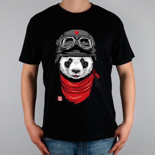 Wholesale- Happy Adventurer panda T-shirt Top Pure Cotton Men T shirt New Design High Quality