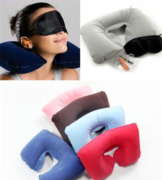 top popular 2017 HOT 3in1 Travel Office Set Inflatable U Shaped Neck Pillow Air Cushion + Sleeping Eye Mask Eyeshade + Earplugs free DHL 2019
