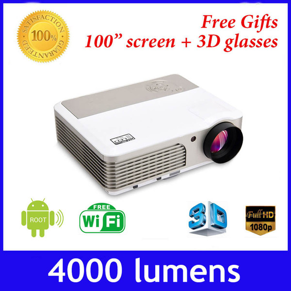 Wholesale-4000 lumens built-in android 4.2 wifi full HD 1080p mini DLP 600w active shutter 3D projector,convert 2D to 3D proyector