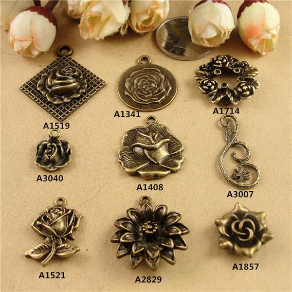 Alloy accessories DIY Vintage pendant flower rose charms tag connector for bracelet, antique bronze metal charms bulk lot, tibetan charms