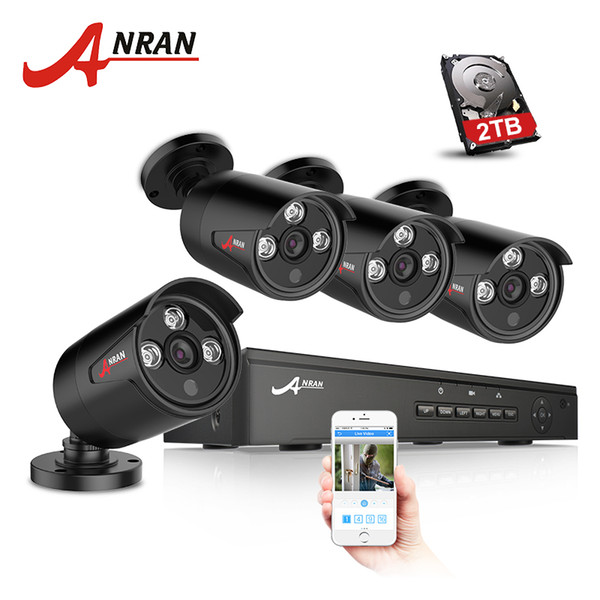 ANRAN Plug And Play 4CH NVR 48V POE CCTV System Onvif P2P 1080P HD H.264 IR Motion Detection Waterproot Outdoor Security POE IP Camera
