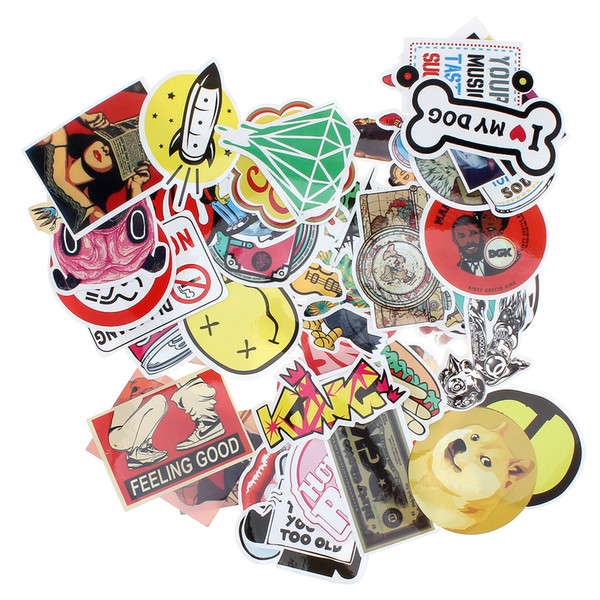 top popular 50pcs Mixed Single Sticker Waterproof Home Decor Doodle Laptop Motorcycle Bike Travel Case Decal Car Accessories CDE_00F 2019