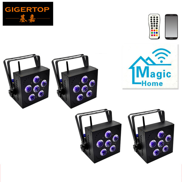 Freeshipping 4 Pack 6x18W RGBWA+UV Battery Powered WIRELESS DMX Par Can DJ Uplighting Up Light Infrared Controller/Mobile Phone