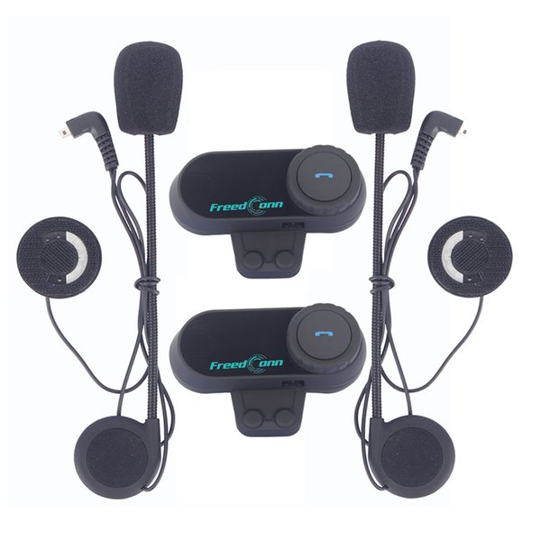 FreedConn 2Pcs / Set Moto Bluetooth Casque Interphone Stéréo HandFree Casque Étanche 1000m BT Sans Fil Casques Intercom Casques