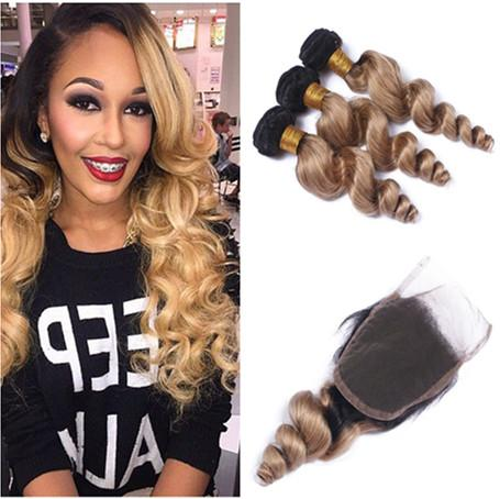 Dark Root 1B/27 Honey Blonde Ombre 4x4 Lace Closure With Loose Wave 3Bundles Peruvian Light Brown Ombre Human Hair Wefts With Closure