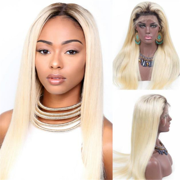 Fashion Ombre Blonde Full Lace Wig 1B 613 Silk Straight Peruvian Lace Front Wig Free Shipping