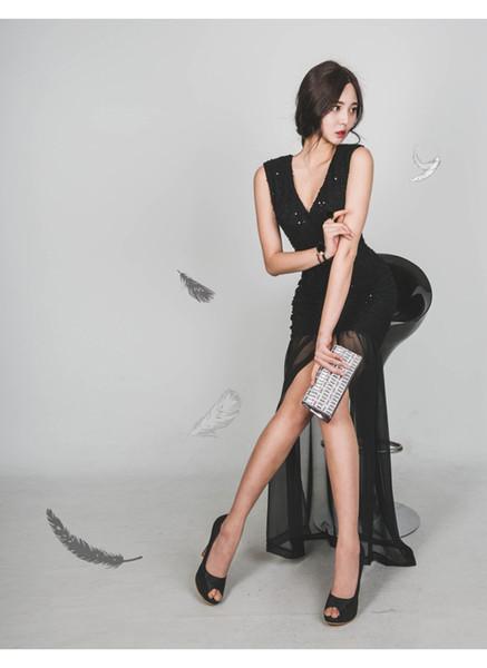 NFIVE Brand 2017 New Spring Summer Korean V Collar Lady Dress Sexy Slim Gauze Bag Hip Dovetail Sleeveless Fashion Women Dresses