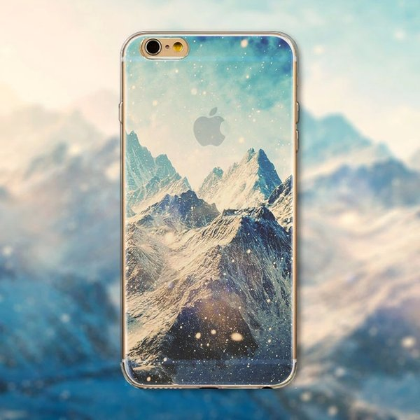 Moda ultra fino silicone macio montanha paisagem cenário caso para iphone 6 4.7