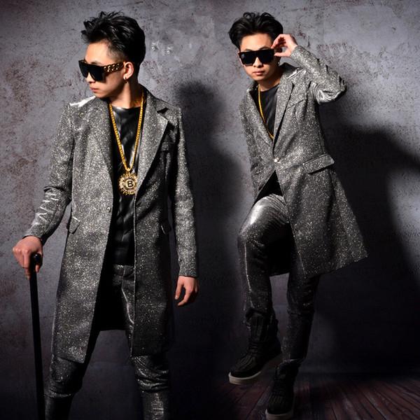 long jacket pants boy singer male suits stage costume 2 pieces sets dancer performance dress show nightclub bar ds clothes Blazer Slim wear