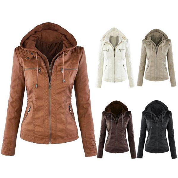 best selling Newest Women's Winter Leather Jacket Coat Hoodies Hooded Lapel Zipper Detachable Leather Jacket Female jaqueta de cour