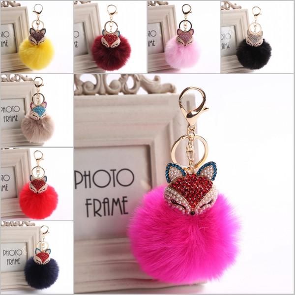 New Women Crystal fluffy Keychain Fox Pom Pom Key Ring 20 Style Inlay Pearl Rhinestone Keychains C150Q