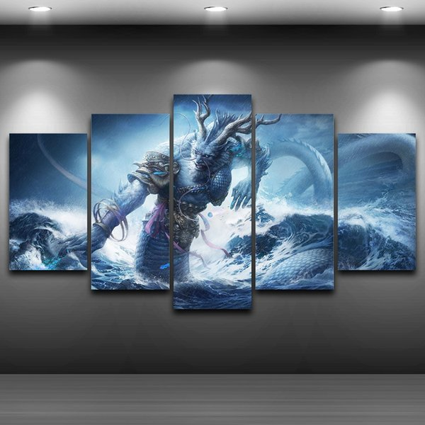 5 Pcs/Set Dragon King Framed wall art picture Spray Oil Painting Decoration Printed Home Decor Artistic Printed Drawing on Canvas