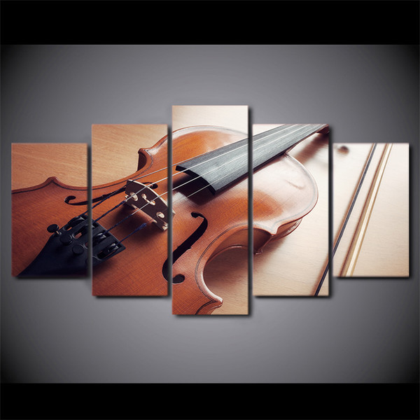 HD Printed 5 Piece Canvas Art Classical Violin Painting Music Instrument Wall Pictures for Living Room Free Shipping