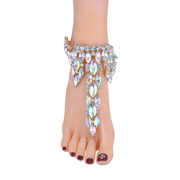 Pulsera de Tobillo de Moda Sandalias Descalzas de La Boda Joyas de Pie de Playa Pie Sexy Pierna de Cadena de Cristal Femenino Tobillera