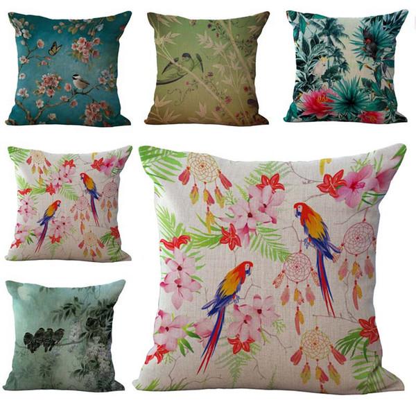 Little Birds Parrot Dreamcatch Pattern Pillow Cases Cushion Cover Pillowcase Linen Cotton Square Pillow Case Pillowslip Home Decor 240487