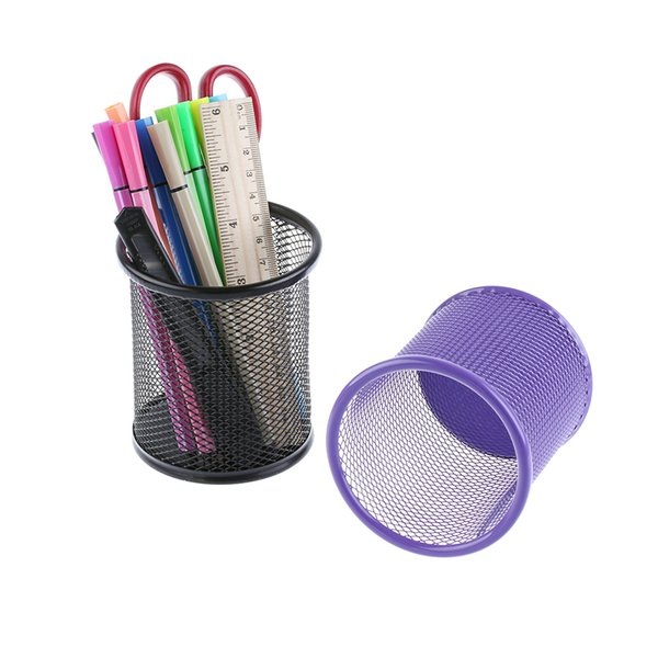 Wholesale- 1PC Metal Round Iron Net Cosmetic Brushes Pencil Pen Holders Stationery Container Office Supplies Black/Red/Purple/Blue