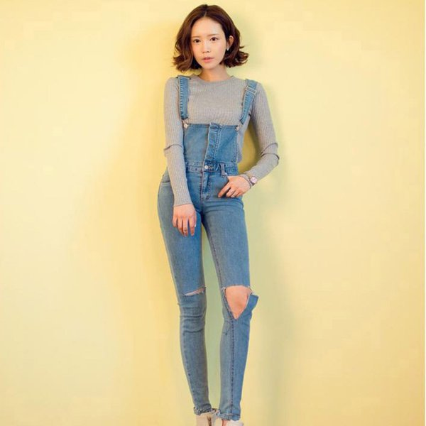 11e0fa932784 Wholesale- 2016 women s Knee hole Skinny Pencil pants denim bib pants female  spaghetti strap jumpsuit jeans pants 9349a on sale