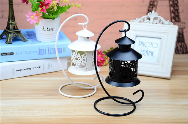 1pcs Wedding Festival small house wrought iron candlestick Creative european-style storm lantern home decor candle holders crafts ornament