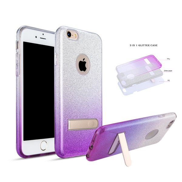 3 in 1 Stents For iphone 6 plus LG LV5 K20 PLUS MetroPCS lg g6 k7 k10 color change rubber soft glitter stickers