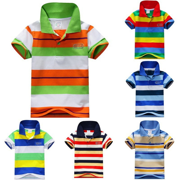 best selling 2019 Summer 1-7Y Child Baby Boy Stand Collar Striped T-shirt Casual Kids Tops Tee Polo Shirt