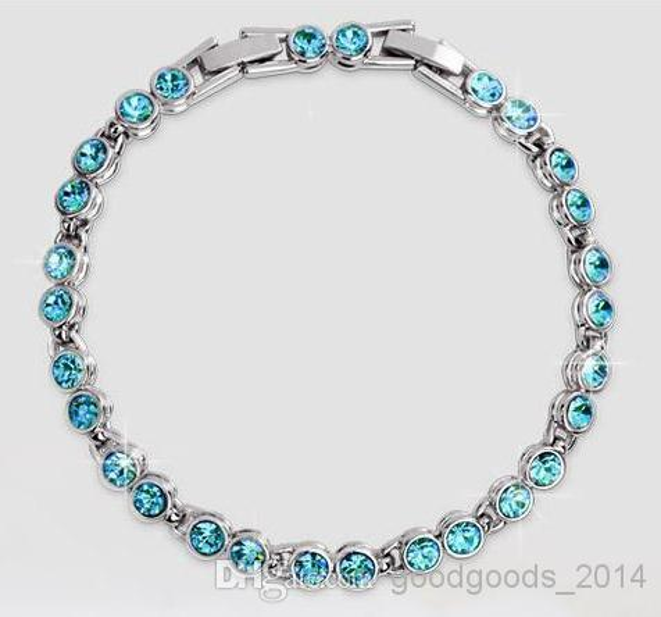 Cristal austríaco pulseira de diamantes completa de Prata Esterlina Swarovski Cristal Elements jóias Opcional multicolor a510