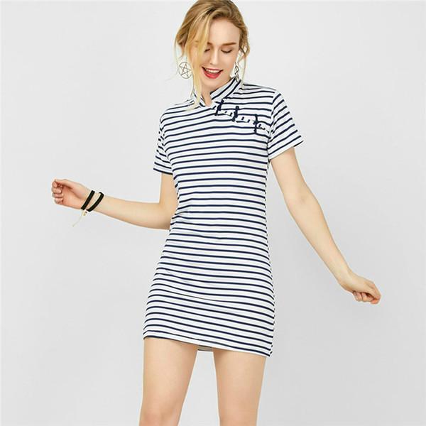 fa62545811a46 Women Casual Summer Dress Short Sleeve O-Neck Bodycon Dress Striped Side  Split Inclined Buckle