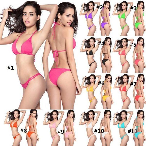 best selling Swimwear for women swimsuit swimsuits Sexy Bikini for women Beach clothing Hotsale solid string bikini two piece 2019 quality European USA