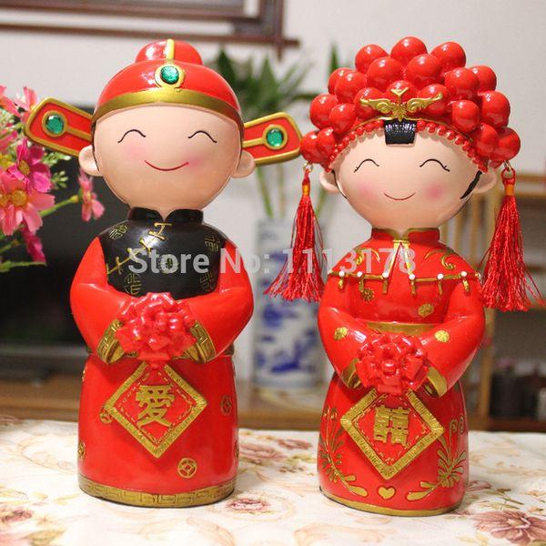 Wholesale- Toppers torta nuziale cinese sposa e sposo Figurina torta topper decorazione regalo di San Valentino