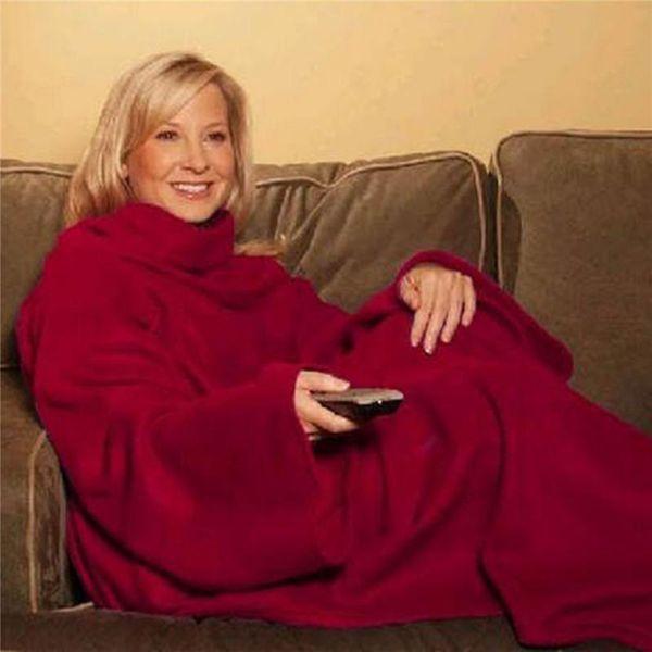 best selling Soft Warm Fleece Snuggie Blanket Robe Cloak With Cozy Sleeves Wearable Sleeve Blanket Wearable Blanket 3 Colors