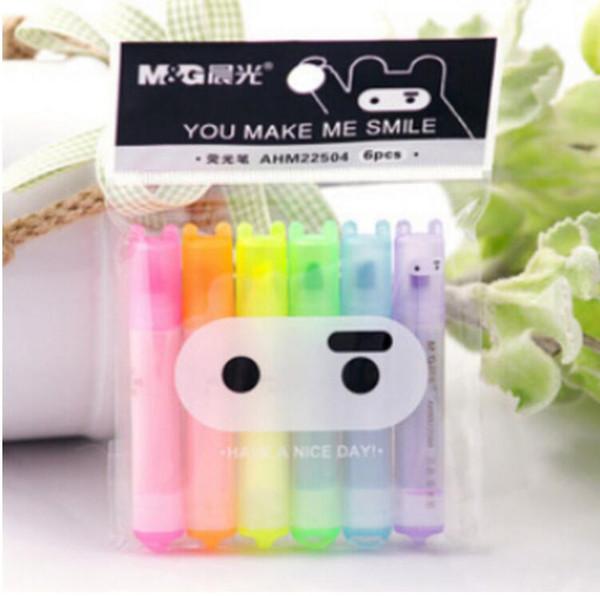6 pcs/lot Cute Kawaii Mini Highlighter Creative Lovely Cartoon Ninja Rabbit gel Pen for Kids Korean Stationery Free shipping
